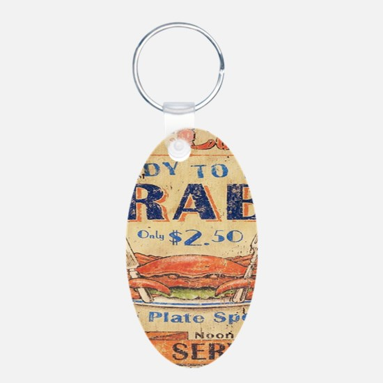 vintage crab woodgrain beach art Keychains