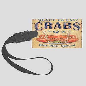 vintage crab woodgrain beach art Large Luggage Tag