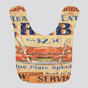 vintage crab woodgrain beach art Bib