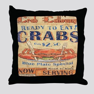 vintage crab woodgrain beach art Throw Pillow