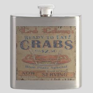 vintage crab woodgrain beach art Flask