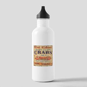 vintage crab woodgrain beach art Water Bottle