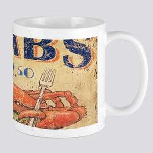 vintage crab woodgrain beach art Mugs