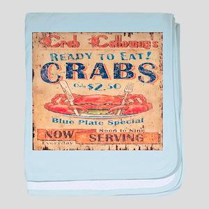 vintage crab woodgrain beach art baby blanket