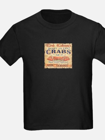 vintage crab woodgrain beach art T-Shirt