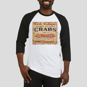 vintage crab woodgrain beach art Baseball Jersey