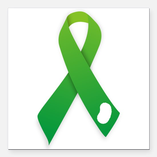 "Green Ribbon Square Car Magnet 3"" x 3"""