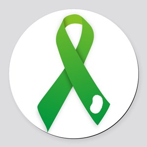 Green Ribbon Round Car Magnet