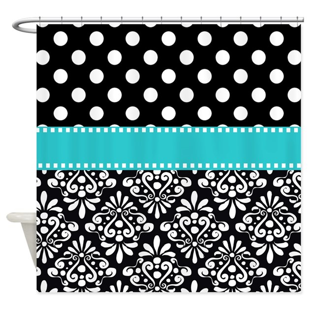 black turquoise damask Shower Curtain by ...