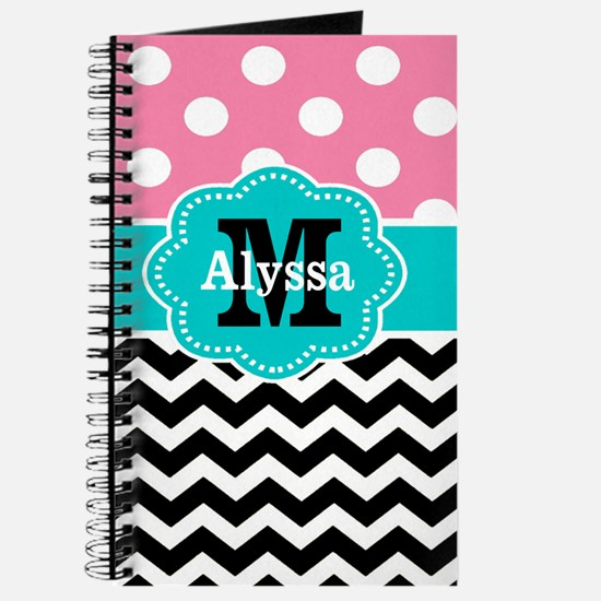 Pink Teal Black Chevron Dots Personalized Journal