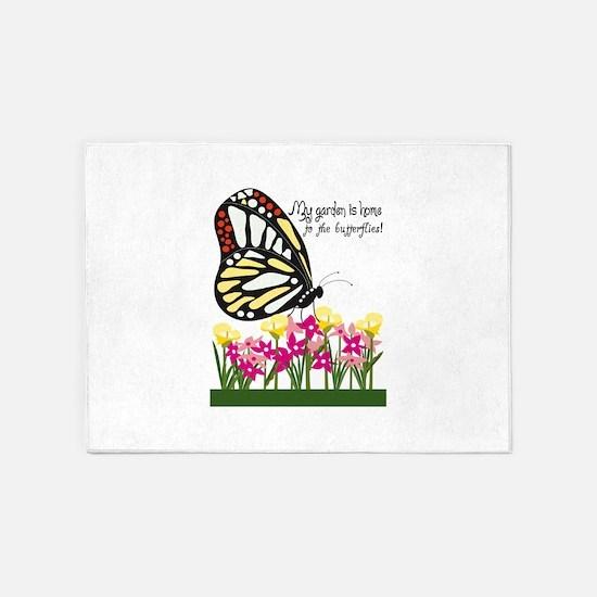 My Garden Is Home To The Butterflies! 5'x7'Area Ru