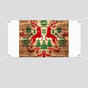 nordic reindeer pattern vintage christmas Banner