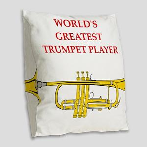 trumpet Burlap Throw Pillow