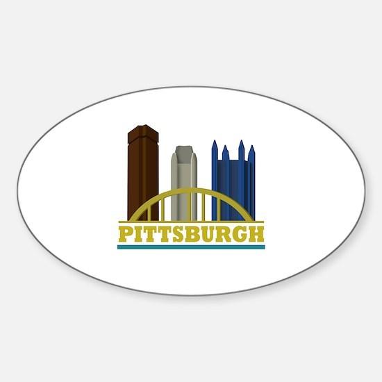 Pittsburgh Pennsylvania Skyline Sticker (Oval)