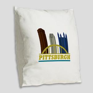 Pittsburgh Pennsylvania Skylin Burlap Throw Pillow