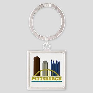 Pittsburgh Pennsylvania Skyline Square Keychain