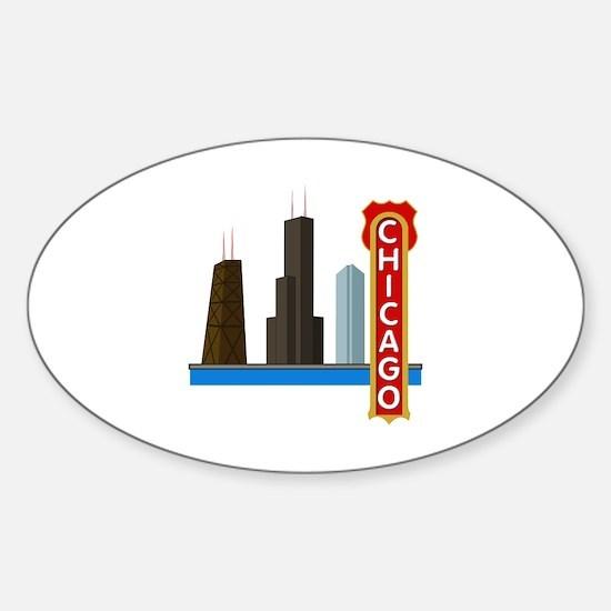 Chicago Illinois Skyline Sticker (Oval)