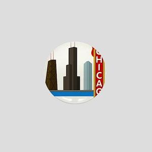 Chicago Illinois Skyline Mini Button
