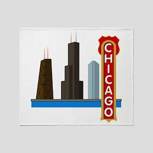 Chicago Illinois Skyline Throw Blanket