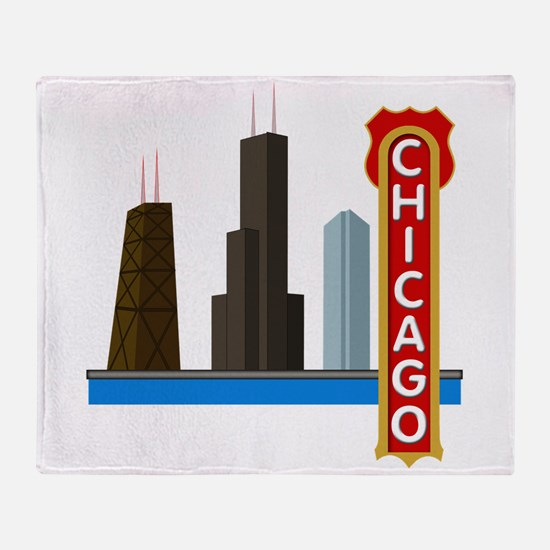 Chicago Illinois Skyline Throw Blanket