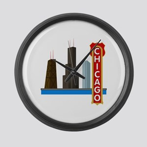 Chicago Illinois Skyline Large Wall Clock