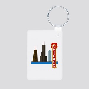 Chicago Illinois Skyline Aluminum Photo Keychain