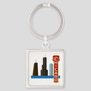 Chicago Illinois Skyline Square Keychain