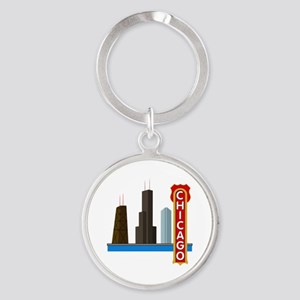 Chicago Illinois Skyline Round Keychain