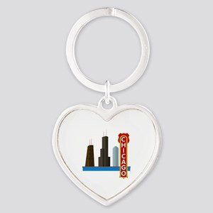 Chicago Illinois Skyline Heart Keychain