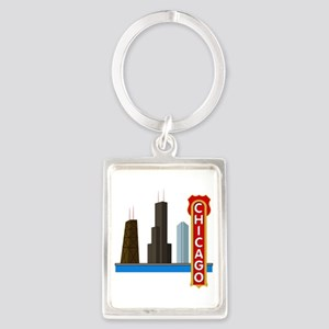 Chicago Illinois Skyline Portrait Keychain