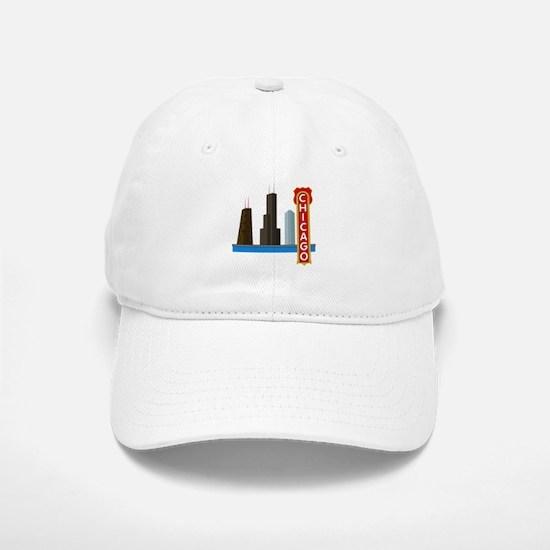 Chicago Illinois Skyline Baseball Baseball Cap