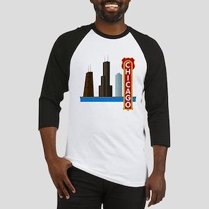 Chicago Illinois Skyline Baseball Jersey