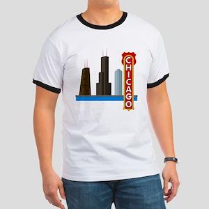 Chicago Illinois Skyline Ringer T