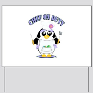Chef on Duty Penguin female Yard Sign