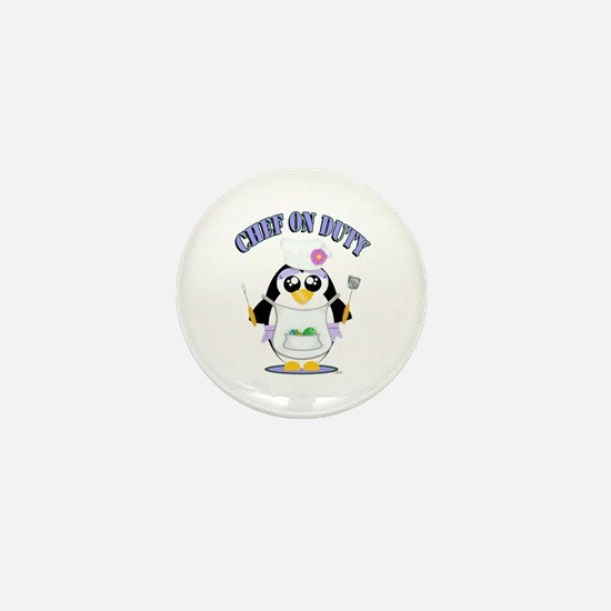 Chef on Duty Penguin female Mini Button