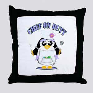 Chef on Duty Penguin female Throw Pillow