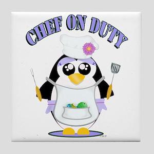 Chef on Duty Penguin female Tile Coaster