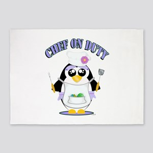 Chef on Duty Penguin female 5'x7'Area Rug