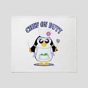 Chef on Duty Penguin female Throw Blanket