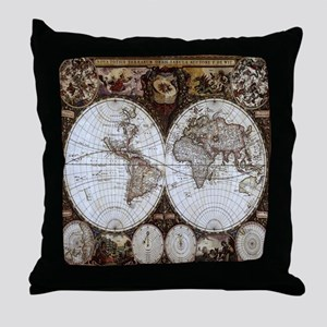 Ancient World Map Throw Pillow
