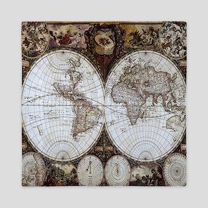 Ancient World Map Queen Duvet