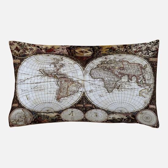 Ancient World Map Pillow Case
