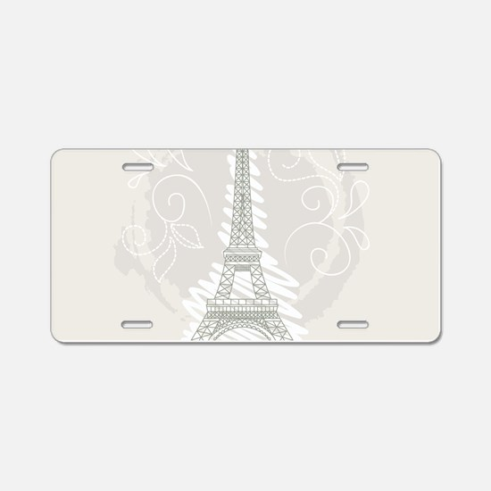 Beautiful Paris Aluminum License Plate