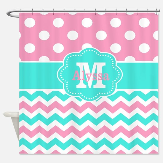 Pink Teal Chevron Dots Personalized Shower Curtain