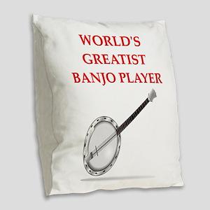 banjo Burlap Throw Pillow