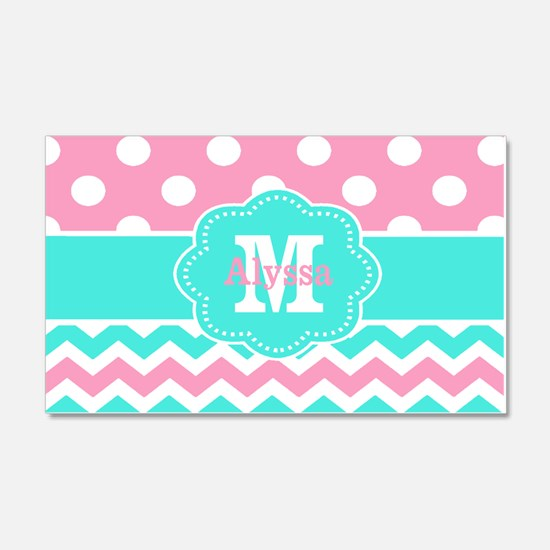 Pink Teal Black Chevron Dots Personalized Wall Dec