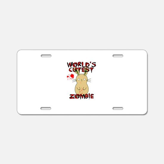 Worlds Cutest Zombie Aluminum License Plate