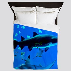 2 Black Tipped Sharks Queen Duvet