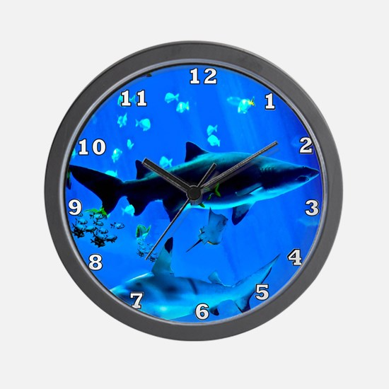 2 Black Tipped Sharks Wall Clock