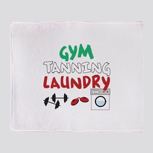 GYM TANNING LAUNDRY Throw Blanket